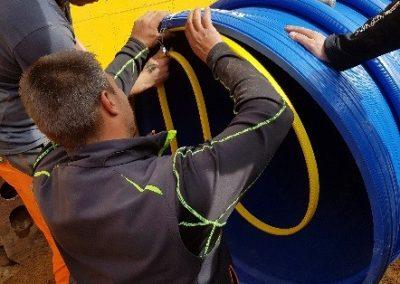 Voll verschweißter Stauraumkanal aus PE-HD Wickelrohren in Rekordzeit hergestellt
